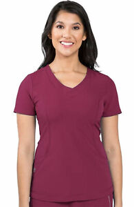 """Healing Hands HH360 Style 2264 V-Neck Detailed Scrub Top in """"Wine"""", Size XS"""