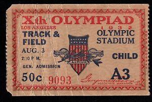 1932 Summer Olympics Los Angeles Track & Field August 3rd Used Ticket Stub 2378