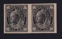Canada Sc #66a (1897) 1/2c black Maple Leaf Imperforate Pair VF H