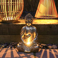More details for 30cm solar power outdoor led light up brass buddha statue figure garden ornament