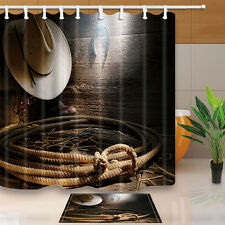 Cowboy hats and horseshoe Bathroom Shower Curtain Waterproof Fabric w/12 Hooks