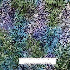 Malam Batik Fabric - Paisley on Green Blue Purple - RJR Jinny Beyer YARD
