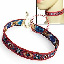Red tone tribal print Choker Necklace Gothic Vintage Festival Punk Boho Hippy