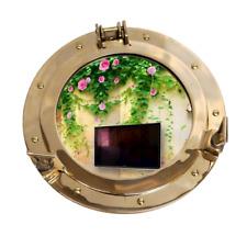 "15"" Brass Porthole Nautical Maritime Ship Boat Wall Mirror Home Decor Gift"