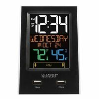 C86224 La Crosse Technology Multi-Color Digital Alarm Clock with 2 USB Charging