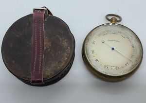 Antique 1800's Brass Victorian English Maritime Pocket Barometer w/Case, England