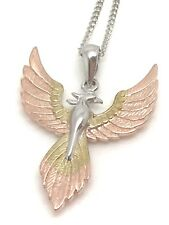 Phoenix solid Sterling Silver Pendant, New, 3 Colour, giftbox. Chain. UK.