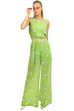 RRP€540 BOUTIQUE MOSCHINO Crepe Jumpsuit Size 44 L Satin Trim Chamomile Pattern
