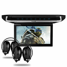 "10""DVD Player Car Roof Monitor Flip Down Video TFT HD Display HDMI+2 Headphones"