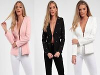 New Women Ladies Pearl Beaded Tailored Casual Office Party Blazer Jacket Coat UK
