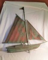 "Vtg Hand-Made Copper Sailboat Weathervane Topper--Great Patina 31.5""x 30.5"""