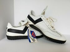 Vintage Pony Cleats White Leather Shoes w/ Black Trim Mens 11.5 #4577 Nwt