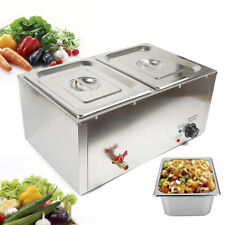 Electric Bain Marie Commercial Food Warmer Container 2x 1/2 Gn Stainless Steel