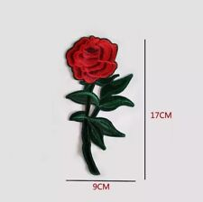 Red Rose Long Stem Embroidered Iron on Sew On Patch Appliqué
