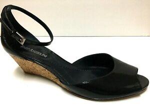Enzo Angiolini Eapercita Black Patent Cork Wedge Open Toe Peep Heel Sz 6.5