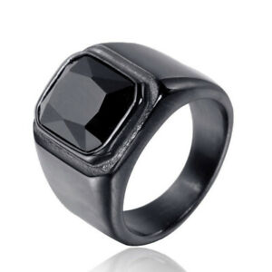 Men's Black Jewelry Ring Black CZ Stone Inlaid Stainless Steel Wedding Band Ring