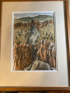 """May Gross 1980 """"Canyon Scene"""" Mixed Media Painting - Signed And Framed"""