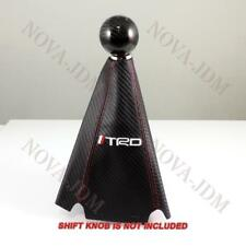TRD shift knob Shifter Boot Cover MT/AT Carbon Fiber Look Red Stitches TOYOTA