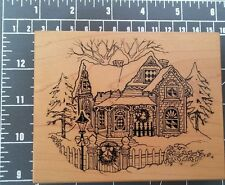 used winter rubber wood stamp christmas house psx victorian street lamp wreath