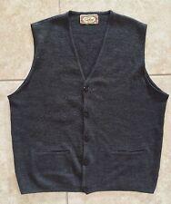 ☀️ Mens Gray Sweater Vest Sleeveless Handmade Guatemala Vintage 1970 Dress Small