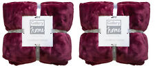 Twin Pack of Gallery Home Luxury Flannel Fleece Throw 140cm X 180cm Red