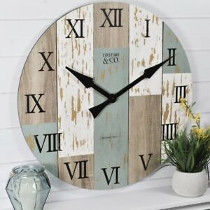 FirsTime 27 in. Multi-Color Oversized Timberworks Wall Clock w/ Distressed wood