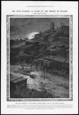 1911 Antique Print - MANCHURIA Plague Coffins Dogs Cemetery Ground Moon (248)
