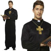 Mens Vicar Priest Clergyman Monk Church Fancy Dress Costume & Cross Necklace