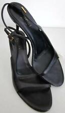 GUCCI Black Leather Open Toe Slingback Strappy D'Orsay Heel Sz 8 Gold Buckle -A