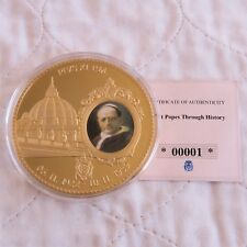 More details for 2012 pope pius xi 70mm large gold plated coloured proof medal - coa