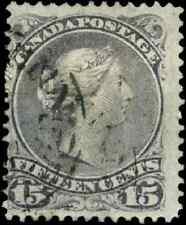Canada #29 used F 1868 Queen Victoria 15c grey violet Large Queen CDS CV$30.00