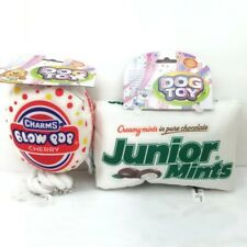 Chew Dog Toy Squeaky Shaped Junior Mints Candy and Charms Blow Pop Lot of 2