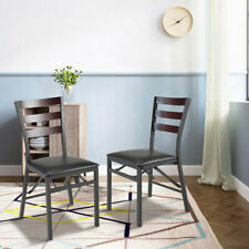 2PC Folding Metal Chairs Upholstered Dining Chairs Home Restaurant Furniture