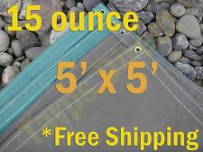 5 ft x 5 ft Green Canvas Cotton 15 oz Water Resistant Tarp Treated Breathable