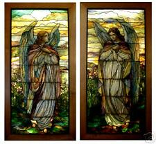 Antique Original 1850 1899 Antique Stained Glass Window Pair For