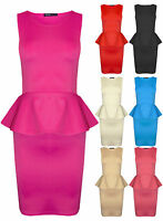 Womens Plain Party Peplum Style Bodycon Mini Dress Red Black Ladies New Sz8-14