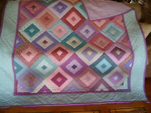 "Handmade Handquilted ""Jelly Roll"" Quilt - Full/Queen 72"" x 87"" Pink/Purple/Blue"