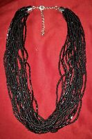 Vintage-Torsade-Multi Strand-black- Glass Seed Bead-Choker-Necklace-beaded