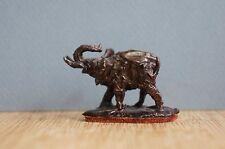 "Antique Vintage Bronze Elephant Figurine Signed Leather 1 1/2"" [Y7-W6-A8]"