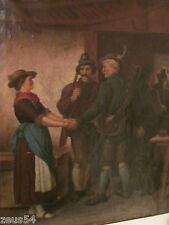 Jäger Jagd Bayern Tirol Antikes Ölgemälde um 1900 Jäger und Frauen