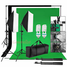 2x125W Kit Illuminazione Luci Stativi 1.6x3m Fondale Bianco Nero Verde Softbox