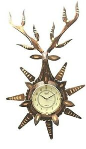 Deer Shaped Wooden Decorative Antique Handmade Wall Clock for Wall Decoration