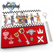 New  8pcs/Set Kingdom Hearts Mickey Sora KEY BLADE Necklace Pendant Keychain