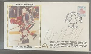 """1982 Gateway First Day Cover Wayne Gretzky """"Points Record"""" Autographed 100% HOF"""