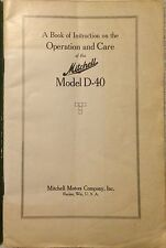 1918 Antique - Mitchell Model D-40 Book of Instruction - Operation & Care - RARE