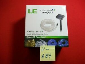 BRAND NEW LE SOLAR POWER LED ROPE LIGHT 7 METERS 50 LEDs STEADY & FLASH MODES