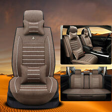 5-Seat Auto SUV S Size Coffee Linen Seat Covers Front+Rear+4pc Free Pillows Set