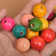 10pcs 23mm WOODEN Round Spacer Beads big hole mix color loose wood bead