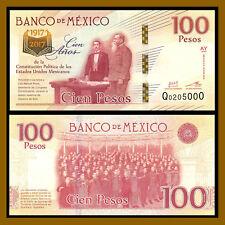 Mexico 100 Pesos, 2016-2017 P-130 Sig Type 4, 100 Year Comm. of Constitution Unc