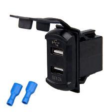 4.2A 12V Voltmeter Dual Port USB Charger Socket Blue LED For Car Boat Truck RV